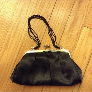 Black Satin Evening Bag w/Beaded Handle